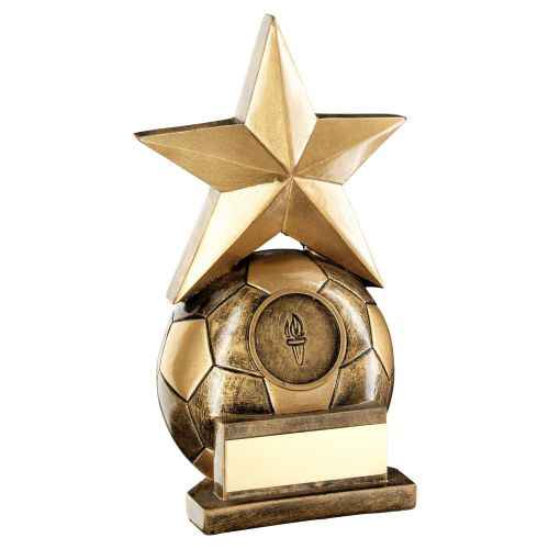 Bronze Gold Football With Gold Star Trophy 6.75in - New 2019