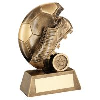 Bronze Gold Football Trophy Award Boot On Flat Half Ball Trophy Award 5.75in : New 2020