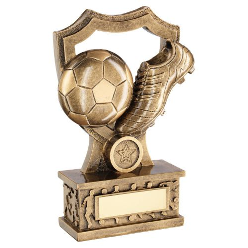 Bronze Gold Football and Boot Shield On Silhouette Base Trophy Award 8in : New 2020