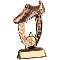 Bronze Gold Resin Raised Football Boot Trophy 5.25in