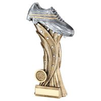Bronze Pewter Silver Football Boot On Star Column Trophy Award 9.25in : New 2020