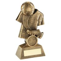 Bronze Gold Football and Boot On Shirt Backdrop Trophy Award 5in : New 2020