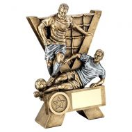 Bronze Pewter Male Double Football Figures With V-Net Backdrop Trophy - New 2019