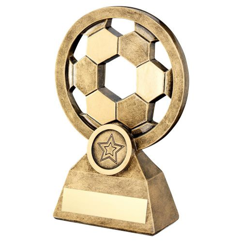 Bronze Gold Football With Holes Trophy 5.75in - New 2019