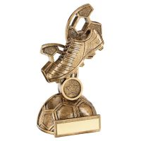 Bronze Gold Football Boot with Panel Backdrop Trophy Award 8in : New 2020