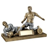 Bronze Pewter Male Football Figure And Goalkeeper Trophy 7.5 X 10.5in - New 2019
