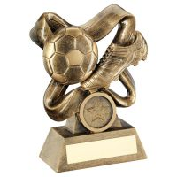 Bronze Gold Football and Boot On Swirled Ribbon Trophy Award 4in : New 2020