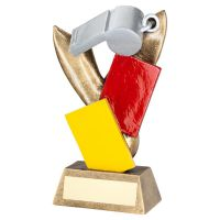 Silver Bronze Referee Whistle with Red and Yellow Cards Trophy Award 6.75in : New 2020