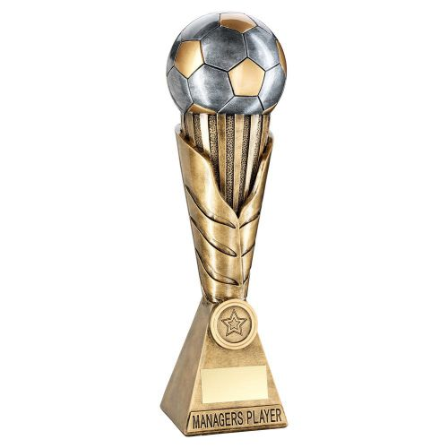 Bronze Pewter Gold Football On Leaf Burst Column Trophy Managers Player - New 2019