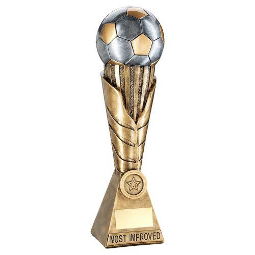 Bronze Pewter Gold Football On Leaf Burst Column Trophy Most Improved - New 2019