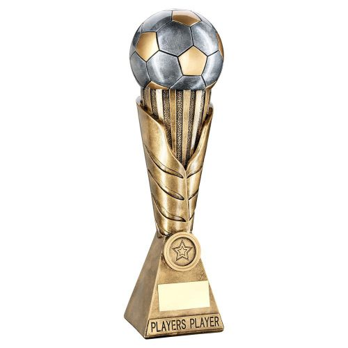 Bronze Pewter Gold Football On Leaf Burst Column Trophy Players Player - New 2019