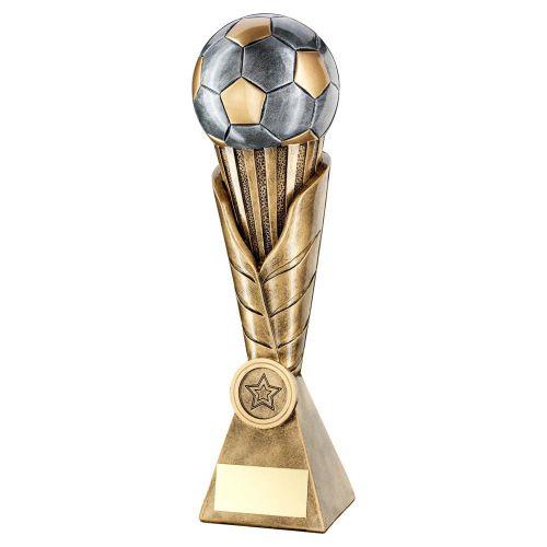 Bronze Pewter Gold Football On Leaf Burst Column Trophy 8.75in - New 2019