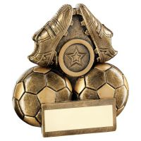 Bronze Gold Two Footballs And Boots Flatback Trophy 3.75in - New 2019