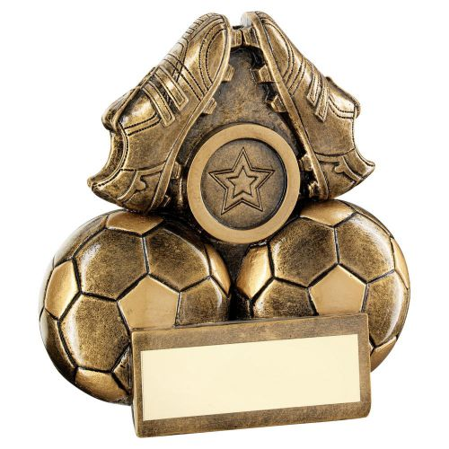 Bronze Gold Two Footballs And Boots Flatback Trophy 3in - New 2019