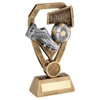Bronze Pewter Gold Football with Boot and Net On Diamond Trophy Award 7in : New 2020