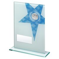 White Blue Printed Glass Rectangle With Football Insert Trophy 6.5in - New 2019
