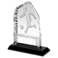 Clear Glass Frosted Football Iceberg On Black Base Trophy Award 5in : New 2020