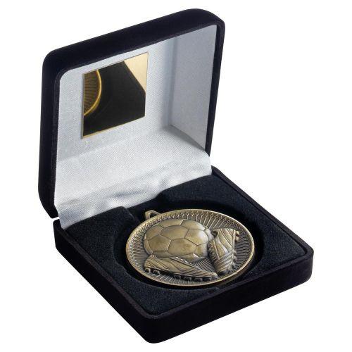 Black Velvet Box And 60mm Medal Football Trophy Antique Gold 4in - New 2019