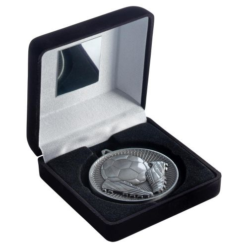 Black Velvet Box And 60mm Medal Football Trophy Antique Silver 4in - New 2019