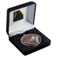 Black Velvet Box And 60mm Medal Football Trophy Bronze 4in : New 2019