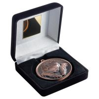 Black Velvet Box And 60mm Medal Football Trophy Bronze 4in - New 2019