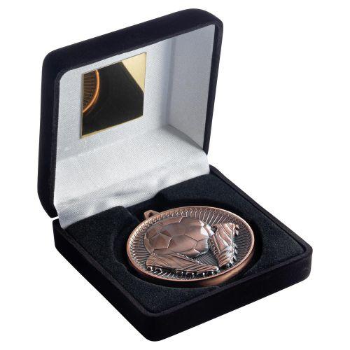Black Velvet Box And 60mm Medal Football Trophy Bronze 4in - New 2019