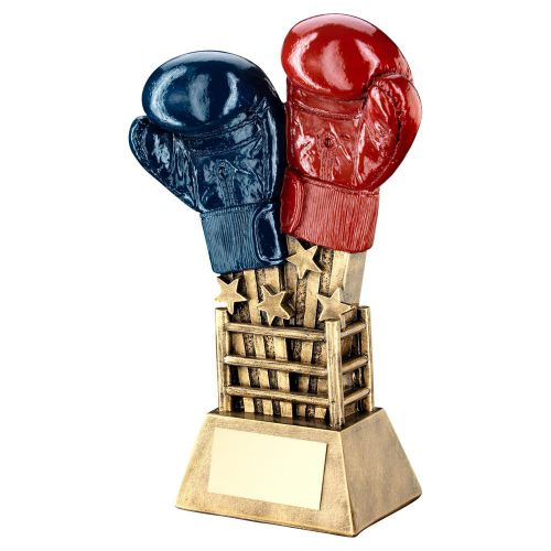 Bronze Gold Red Blue Boxing Gloves Star Burst With Ring Base Trophy 6.5in - New 2019