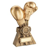 Gold Bronze Boxing Gloves with Belt Trophy Award 6in : New 2020