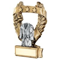 Bronze Pewter Gold Martial Arts 3 Star Wreath Award Trophy 7.5in - New 2019