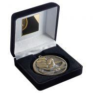 Black Velvet Box And 60mm Medal Martial Arts Trophy Antique Gold 4in - New 2019