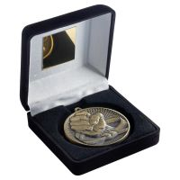 Black Velvet Box And 60mm Medal Martial Arts Trophy Antique Gold 4in - New 2019