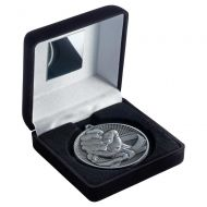 Black Velvet Box And 60mm Medal Martial Arts Trophy Antique Silver 4in - New 2019