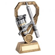 Bronze Pewter Gold Angling Rod and Reel On Diamond Trophy Award 7in : New 2020