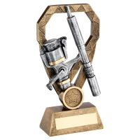 Bronze Pewter Gold Angling Rod and Reel On Diamond Trophy Award 6in : New 2020