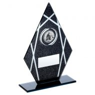 Black Silver Printed Glass Diamond With Angling Insert Trophy 8in - New 2019
