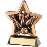 Bronze Gold Ten Pin Mini Star Trophy 3.75in