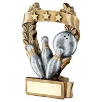 Bronze Pewter Gold Ten Pin 3 Star Wreath Award Trophy 6.25in - New 2019