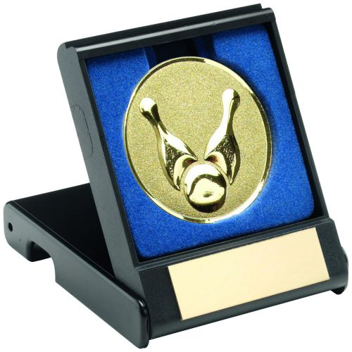 Black Plastic Box with Ten Pin Insert Trophy Award Silver 3.5in : New 2020