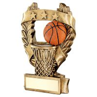 Bronze Gold Orange Basketball 3 Star Wreath Award Trophy 7.5in - New 2019