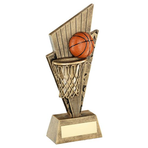 Bronze Gold Orange Basketball and Net On Pointed Backdrop Trophy Award 7in : New 2020