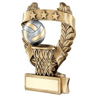 Bronze Pewter Gold Netball 3 Star Wreath Award Trophy 7.5in - New 2019