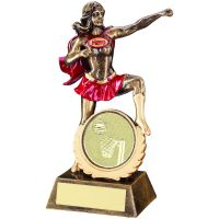 Bronze Gold Red Resin Female Ladies Fun Hero Award with Netball Insert 7.5in : New 2020