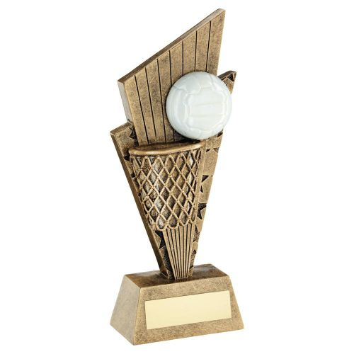 Bronze Gold White Netball and Net On Pointed Backdrop Trophy Award 6in : New 2020