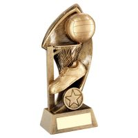 Bronze Gold Netball With Twisted Backdrop Trophy 7in - New 2019