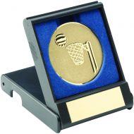 Black Plastic Box Netball Gold 3.5in