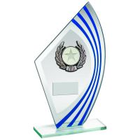 Jade Blue Silver Sail Glass Silver Black Wreath Trim Trophy 8in