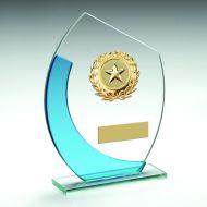 Jade Blue Oval Glass Gold Wreath Trim Trophy 6in