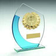 Jade Blue Oval Glass Gold Wreath Trim Trophy 7in