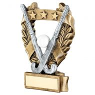 Bronze Pewter White Gold Hockey 3 Star Wreath Award Trophy 6.25in - New 2019