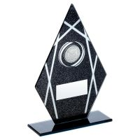 Black Silver Printed Glass Diamond with Hockey Insert Trophy Award 7.25in : New 2020